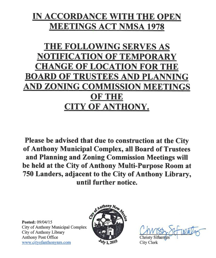 notice of change of meeting location BOT 9-2015