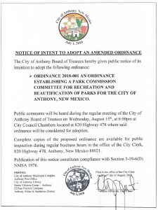 Board of Trustees (BOT) Meeting - Notice To Adopt Ordinance 2018-001 @ City Municipal Complex (Council Chambers)