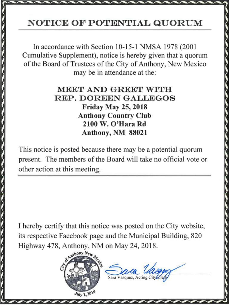 Notice of Potential Quorum @ Anthony Country Club