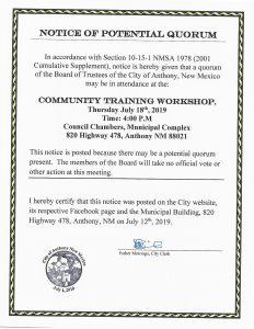 Notice of Potential Quorum - Community Training Workshop @ City Hall Municipal Complex