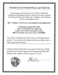 Notice of Potential Quorum - 62nd Annual NMML Conference Meeting @ Women's Intercultural Centre