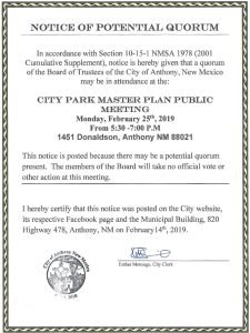 Notice of Potential Quorum - City Park Master Plan Meeting @ Loma Linda Elementary School