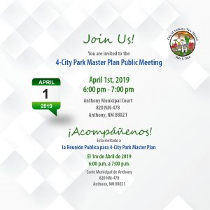 4 City Park Master Plan Public Meeting @ City of Anthony Municipal Complex