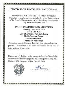 Notice of Potential Quorum - Park Commission Meeting @ Multi-Purpose Room
