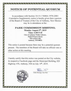 Notice of Potential Quorum - Park Commission Meeting
