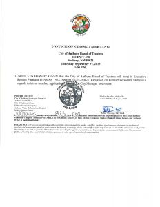 Board of Trustees (BOT) Special Meeting - Closed Meeting Executive Session @ City Municipal Complex (Council Chambers)