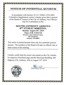 Notice of Potential Quorum - South Anthony Arroyo 2nd Public Meeting @ Women's Intercultural Centre