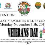 City Facilities Closed Monday