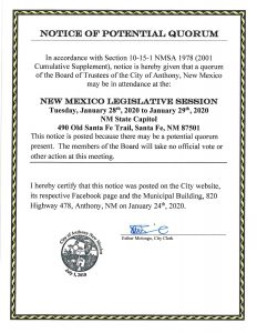 Notice of Potential Quorum - Legislative Session @ City Municipal Complex