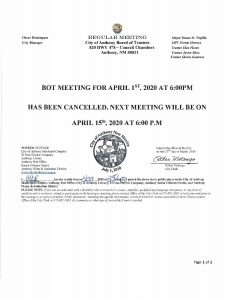 Board of Trustees (BOT) Meeting - Meeting canceled for April 1st 2020 @ City Municipal Complex (Council Chambers)