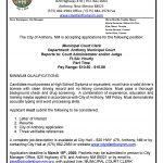 New Employment Opportunity – Municipal Court Clerk