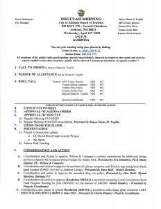 Board of Trustees (BOT) Meeting - Consideration and Action to approve Wilson & Co. Contract Amendment @ City Municipal Complex (Council Chambers)