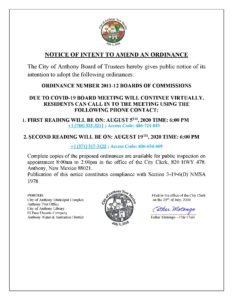 Notice To Amend Ordinance 2011-12 Boards of Commissions @ City Municipal Complex (Council Chambers)