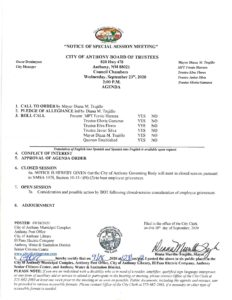Board of Trustees (BOT) Meeting – Notice of Special meeting - Closed Session