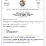 New Employment Opportunity – Maintenance Worker I