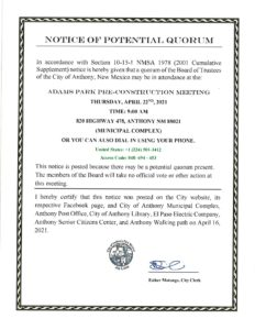 Notice of Potential Quorum - Adams Park Pre-Construction Meeting @ City Municipal Complex