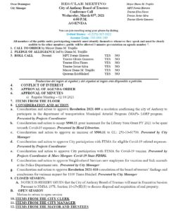 Board of Trustees (BOT) Meeting - Consideration And Action To Approve Resolution 2021-009 Presented by Projects Coordinator. @ City Municipal Complex