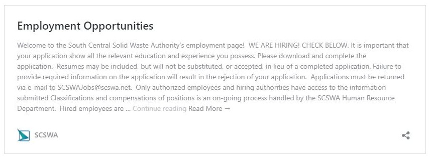 SCSWA Employment