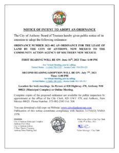 Notice Of Intent to Adopt Ordinance 2021-002  Ordinance for the Lease of Land  by the City of Anthony. @ City Municipal Complex
