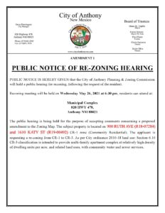 Planning and Zoning (P&Z) Public Notice Of Re-Zoning Hearing @ City Municipal Complex